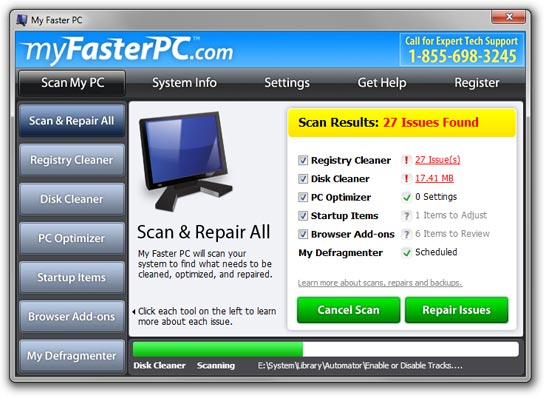 Click to view My Faster PC 6.6 screenshot
